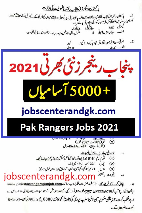 Punjab ranger jobs 2021 advertisement