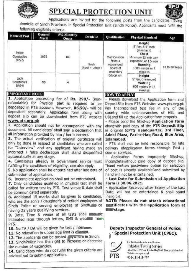SPU Sindh Jobs PTS advertisement 2021