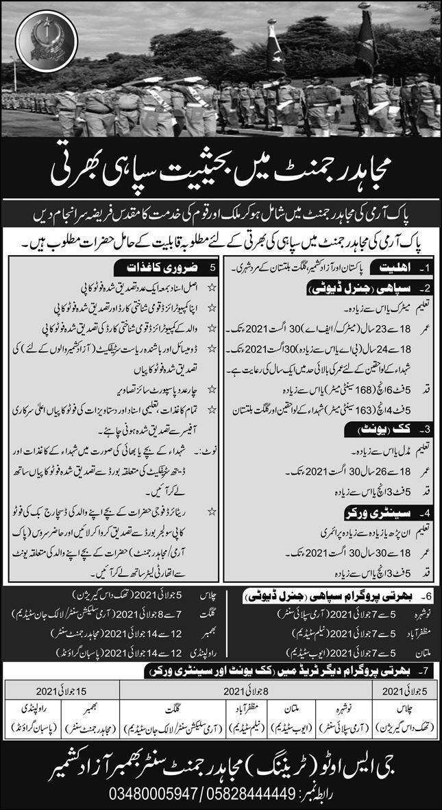 mujahid force regiment army jobs