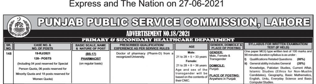 pharmacist jobs in lahore advertisement 2021