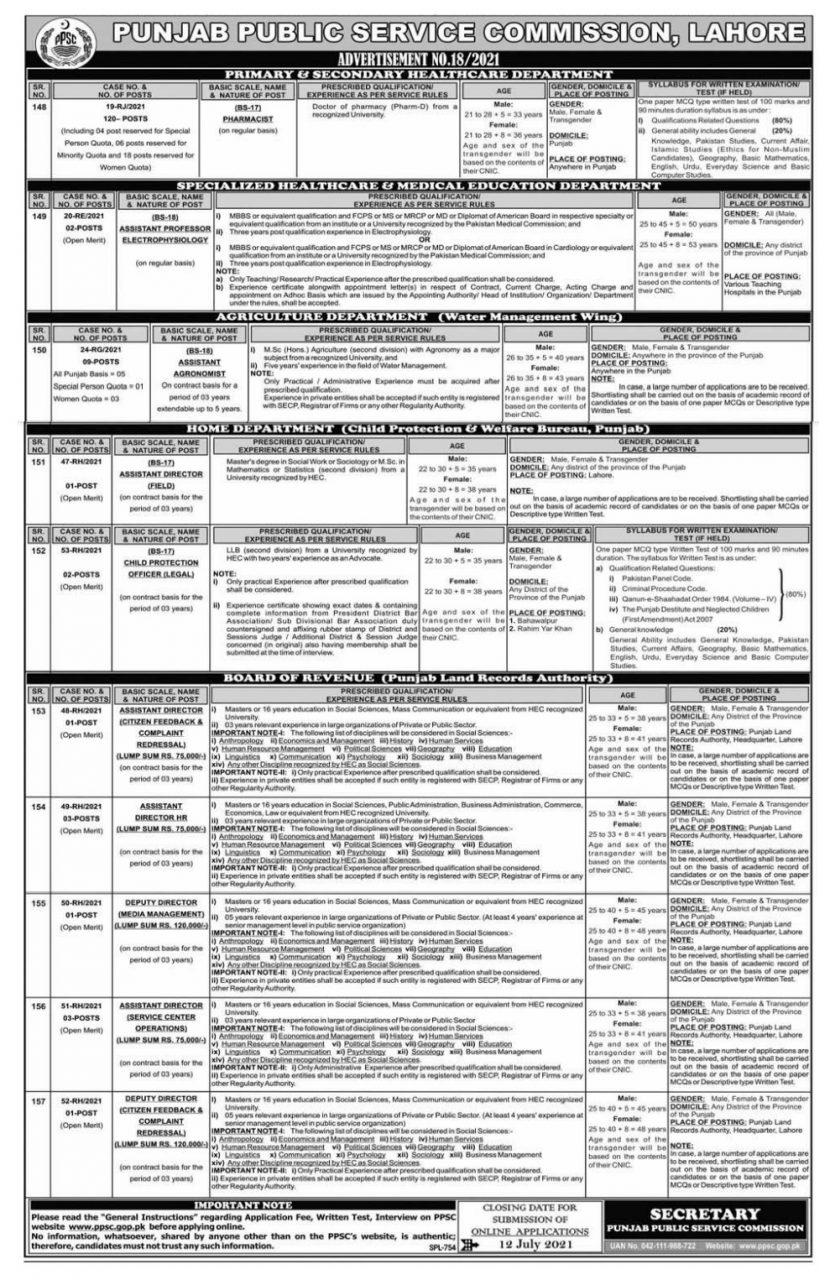 pharmacist jobs ppsc advertisement 18 2021