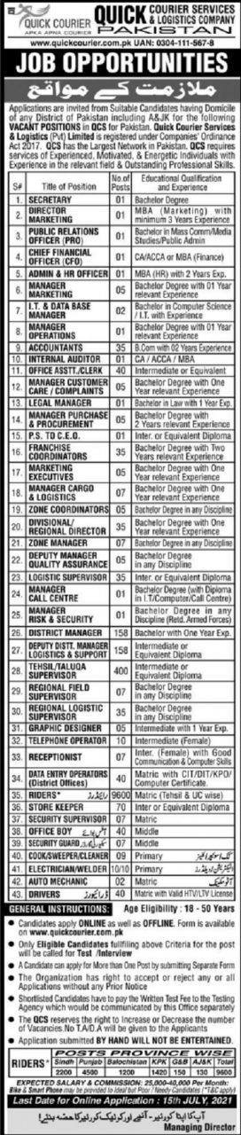 quick courier jobs 2021 advertisement