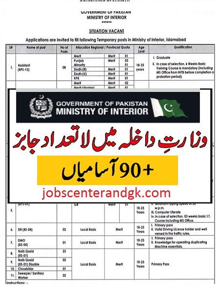 wazarat e dakhla jobs advertisement 2021