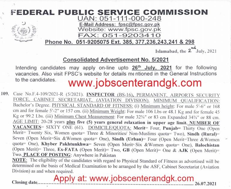 ASF inspector jobs 2021 fpsc advertisement