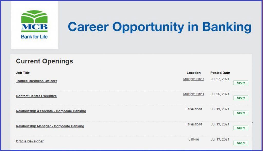 MCB jobs 2021 advertisement