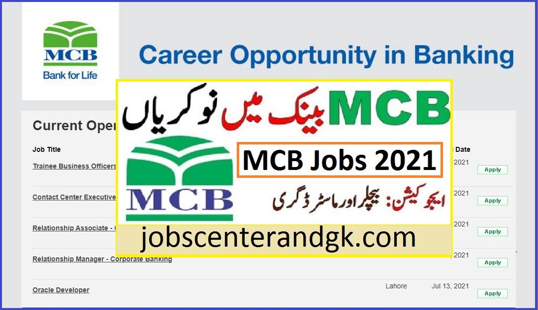 MCB jobs 2021 MCB jobs 2021 online apply | rozee pk MCB jobs