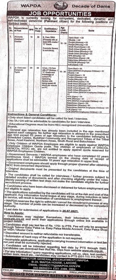 WAPDA jobs PTS advertisement 2021