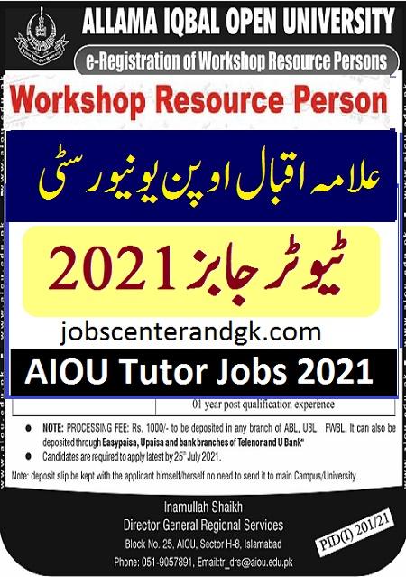 aiou tutor jobs 2021 apply
