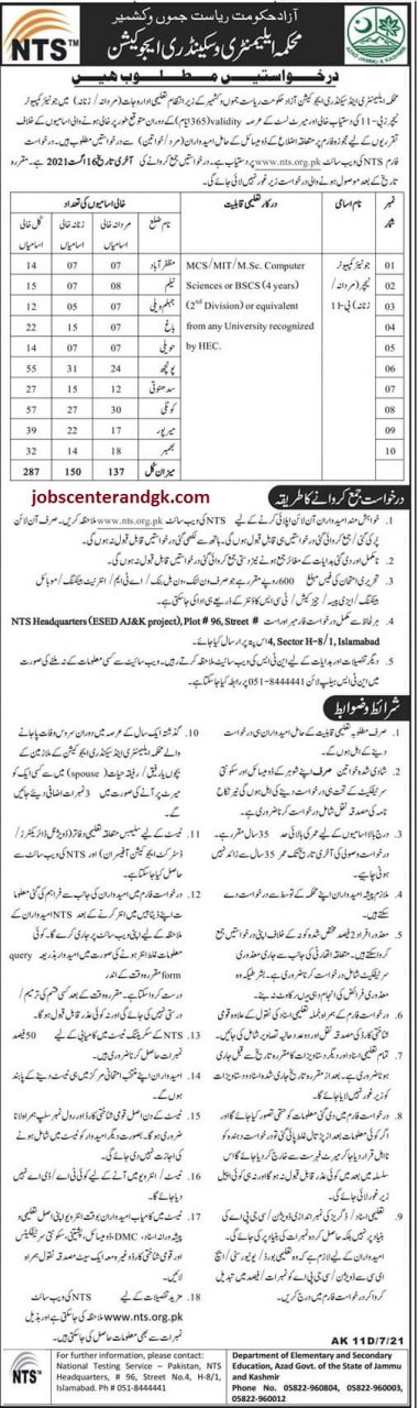 ajk elementary and secondary education department jobs 2021
