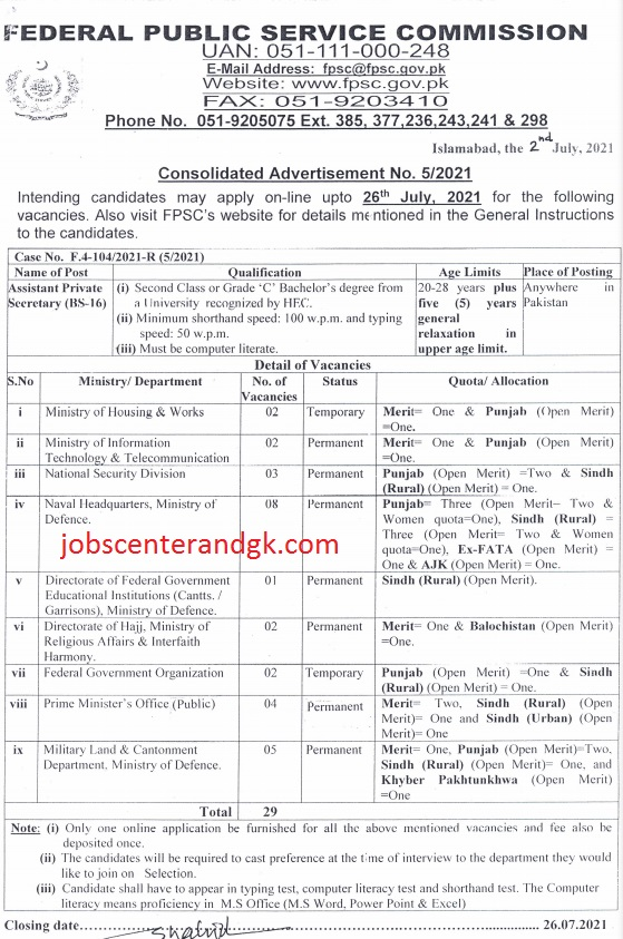 fpsc assistant private secretary jobs 2021