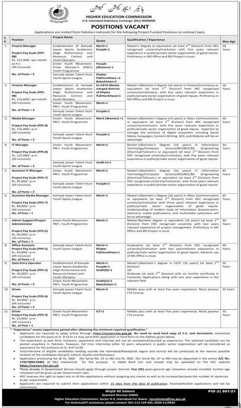 HEC jobs advertisement 2021