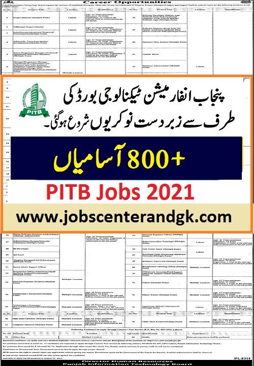 PITB Jobs 2021 ad