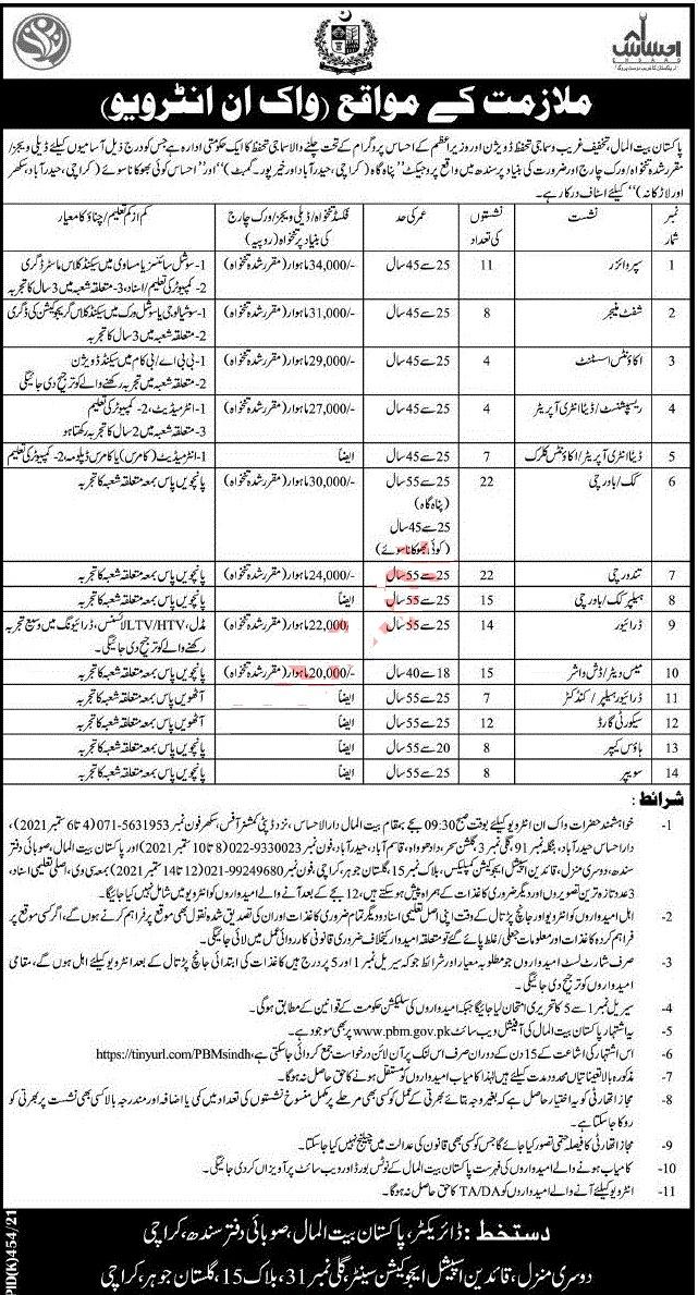 Pakistan Bait ul Mal Sindh Jobs 2021 advertisement