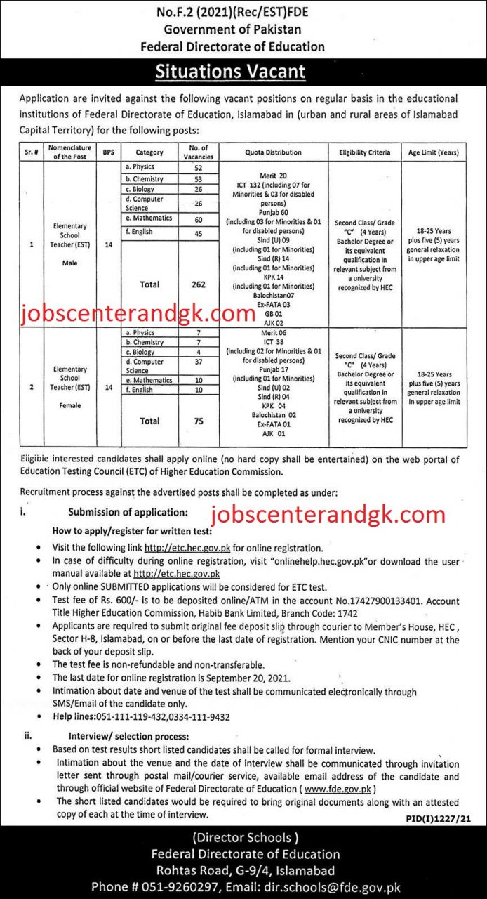 Federal directorate of education EST jobs 2021 advertisement