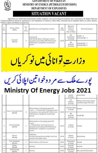 ministry of energy doe jobs 2021