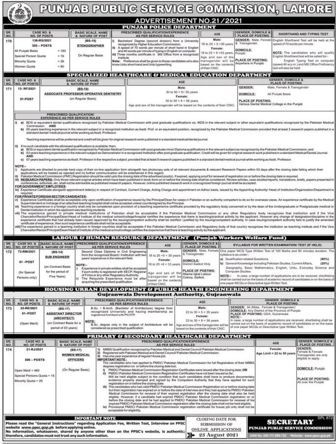 punjab police stenographer jobs 2021 ppsc advertisement