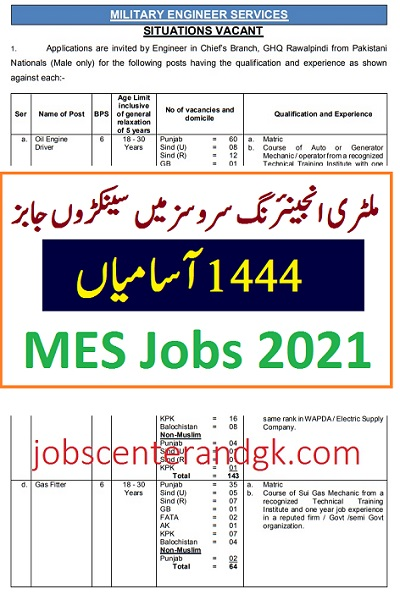 Military engineering services MES jobs 2021 ad