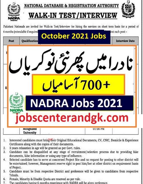 NADRA Jobs 2021 Advertisement latest