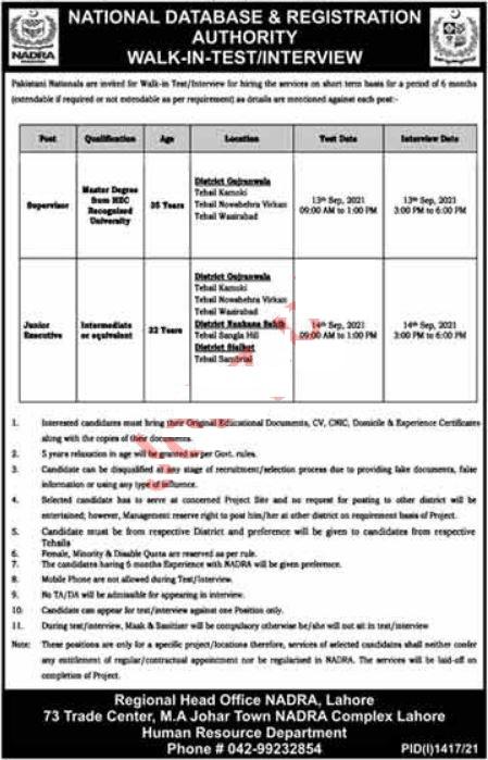 NADRA Lahore Jobs September 2021