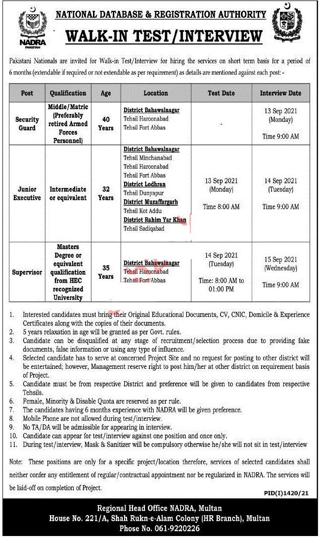 NADRA Multan Jobs September 2021