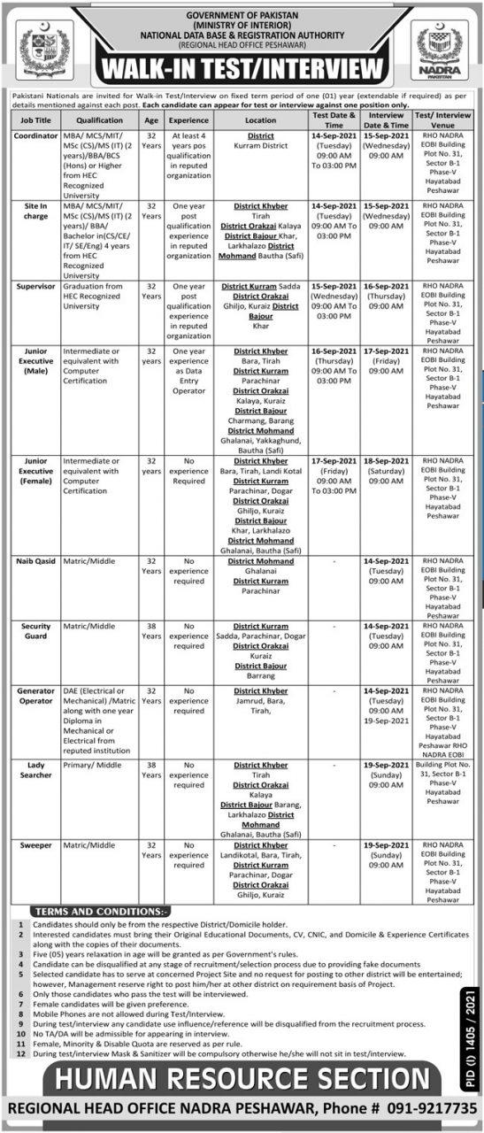 NADRA Peshawar Jobs September 2021