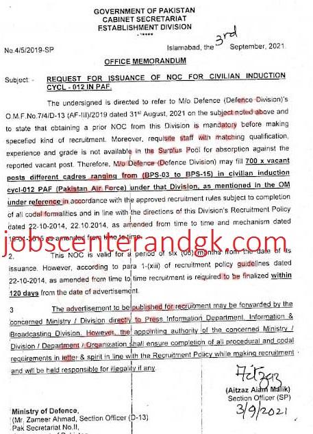 PAF jobs 2021 civilian