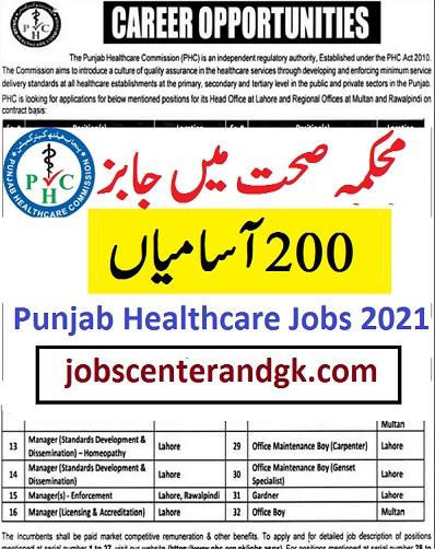 Punjab healthcare commission jobs 2021 advertisement