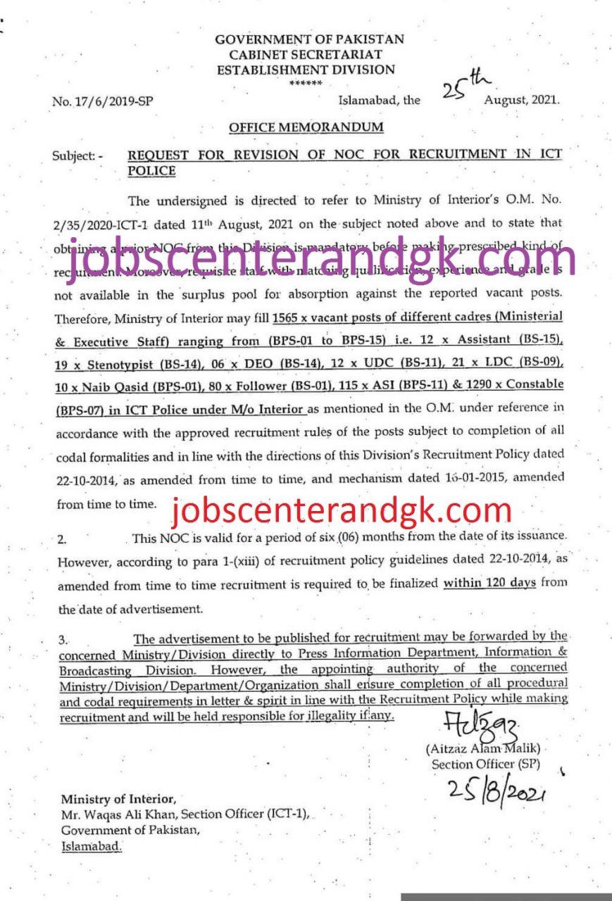 islamabad police jobs 2021 advertisement