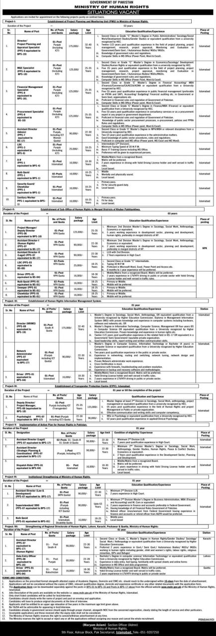 ministry of human rights jobs 2021 advertisement