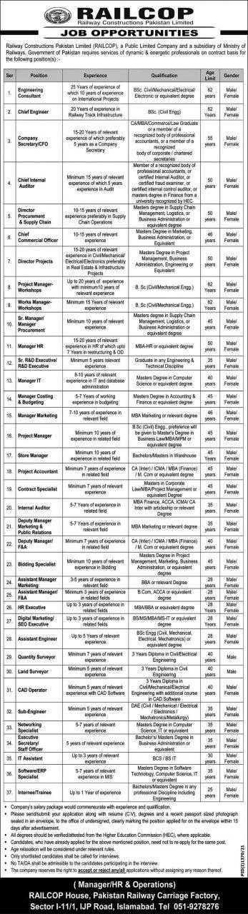 Railway construction Pakistan limited (RAILCOP) jobs 2021