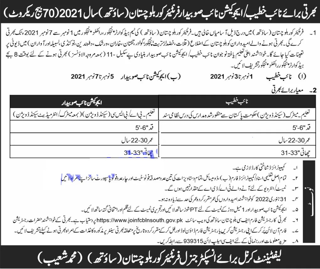 Frontier Corps FC Balochistan jobs 2021 online registration