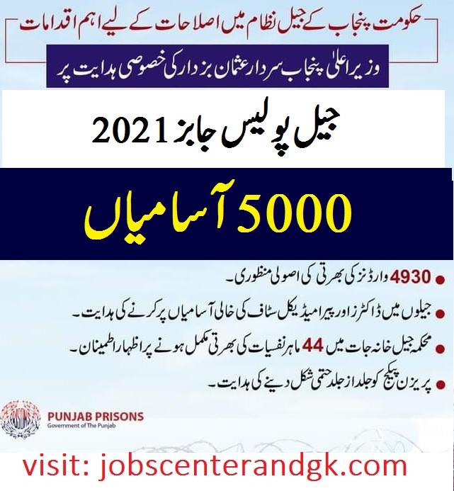 Jail police jobs 2021 Punjab