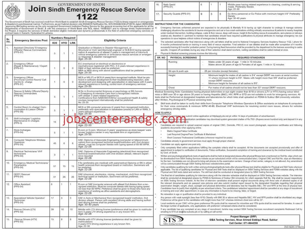 Rescue 1122 Jobs 2021 Sindh