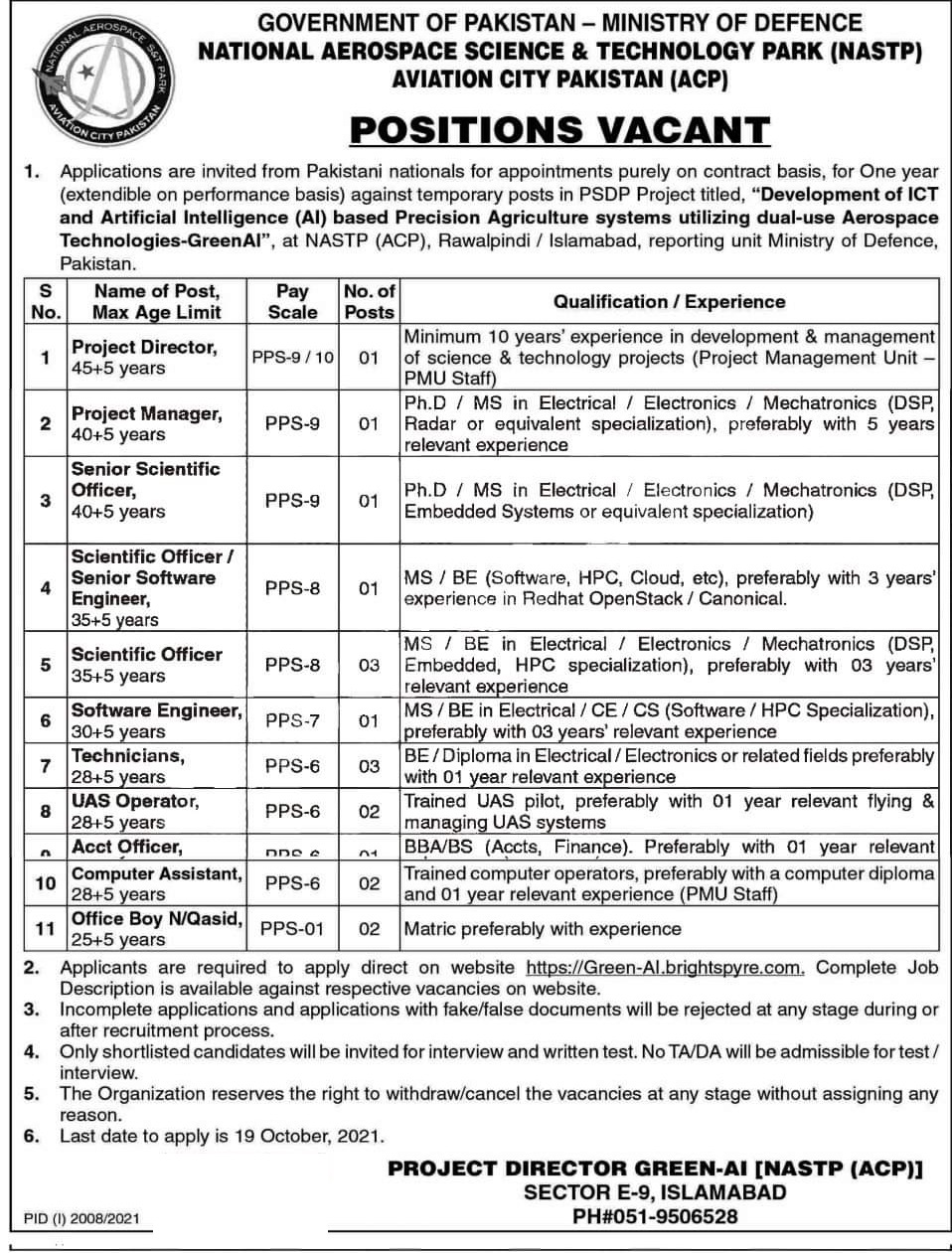 national aerospace science Ministry of defence MOD jobs 2021